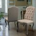 Belmont Tufted Fabric Weathered Hardwood Dining Chairs (Set of 2)