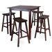 <strong>Winsome</strong> Parkland 5 Piece Dining Table with 4 Saddle Seat Stools