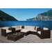 International Home Miami Southampton 9 Piece Sectional Deep Seating Group with Cushions