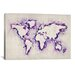 "<strong>iCanvasArt</strong> ""Map of the World (Purple) Paint Splashes"" Canvas Print Wall Art by Michael Thompsett"