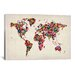 <strong>iCanvasArt</strong> 'Butterflies World Map II' by Michael Tompsett Painting Print on Canvas