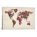 iCanvasArt 'ButterfliesWorld Map II' by Michael Tompsett Painting Print on Canvas