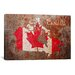 iCanvasArt 'Canada Flag Map' by Michael Tompsett Painting Print on Canvas