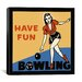 "<strong>iCanvasArt</strong> ""Have Fun Bowling"" Canvas Wall Art by Retro Series"