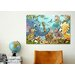 iCanvasArt Kids Children Jungle Cartoon Animals Canvas Wall Art