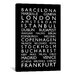 <strong>iCanvasArt</strong> 'World Cities Bus Roll II' by Michael Tompsett Textual Art on Canvas