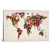 iCanvasArt 'World Map Hearts II' by Michael Tompsett Graphic Art on Canvas