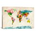 <strong>iCanvasArt</strong> 'World Map Watercolors III' by Michael Tompsett Painting Print on Canvas