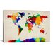 <strong>'Map of The World IV' by Michael Tompsett Painting Print on Canvas</strong> by iCanvasArt