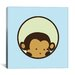 <strong>iCanvasArt</strong> Kids Children Monkey Face Canvas Wall Art