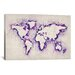 iCanvasArt Map Splashes by Michael Tompsett Painting Print on Canvas in Purple
