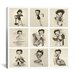 <strong>iCanvasArt</strong> The Many Faces of Betty Boop Graphic Art on Canvas in Black / White