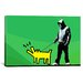 <strong>iCanvasArt</strong> Choose Your Weapon Keith Haring Dog ll Graphic Art on Canvas in Green