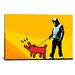 <strong>iCanvasArt</strong> Choose Your Weapon Keith Haring Dog ll Graphic Art on Canvas in Orange