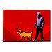 <strong>iCanvasArt</strong> Choose Your Weapon Keith Haring Dog ll Graphic Art on Canvas in Red