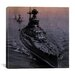<strong>iCanvasArt</strong> Flags Vintage WW2 U.S. Battleships at Sea Photographic Print on Canvas in Grey