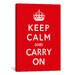 <strong>iCanvasArt</strong> Vintage Posters Keep Calm and Carry on Graphic Art on Canvas in Red