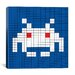 <strong>iCanvasArt</strong> Space Invader - White Invader Tile Art (White and Blue) Canvas Wall Art