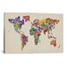 """iCanvasArt """"Typographic Text World Map VIII' by Michael Tompsett Graphic Art on Canvas"""
