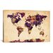 """Urban Watercolor World Map VI"" by Michael Thompsett Painting Print... by iCanvas"
