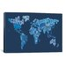 <strong>iCanvasArt</strong> 'Typographic Text World Map IV (Blue)' by Michael Thompsett Graphic Art on Canvas