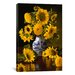 "<strong>iCanvasArt</strong> ""Sunflowers in Blue and White Chinese Vase"" Canvas Wall Art by Christopher Pierce"