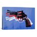 <strong>iCanvasArt</strong> Michael Thompsett Revolver (Magnum) On Blue Canvas Print Wall Art