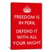 <strong>iCanvasArt</strong> Vintage Posters Freedom is in Peril, Defend It with All Your Might Graphic Art on Canvas in Red