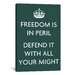 <strong>iCanvasArt</strong> Vintage Posters Freedom is in Peril, Defend It with All Your Might Graphic Art on Canvas in Green