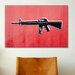 iCanvasArt 'M16 Assault Rifleon Red' by Michael Tompsett Graphic Art on Canvas