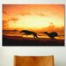 iCanvasArt 'Greyhounds on Beachat Sunset' by Michael Tompsett Painting Print on Canvas