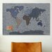 iCanvasArt 'Denim Map of the World' by Michael Tompsett Graphic Art on Canvas