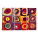iCanvasArt Wassily Kandinsky Squares with Concentric Circles 3 Piece on Canvas Set