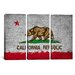 iCanvasArt California Flag Grunge Painted 3 Piece on Canvas Set