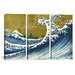 <strong>iCanvasArt</strong> Katsushika Hokusai A Colored Version of The Big Wave 3 Piece on Canvas Set