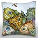 <strong>Illustration of Fish and Worm on Hook Throw Pillow</strong> by Maxwell Dickson