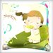 Maxwell Dickson Girl Enjoying Music Throw Pillow