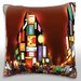 Maxwell Dickson Busy City Lights Night Throw Pillow