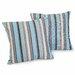 Home Loft Concept Carnegie Celeste Striped Sunbrella Pillow (Set of 2)