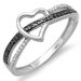 <strong>Dazzling Rock</strong> 10K White Gold Round Cut Diamond Heart Promise Ring