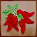 "8"" x 8"" 7 Chili Art Tile in Red"