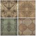 4 Piece Arabesque I Coaster Set