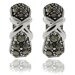 "<strong>Gem Jolie</strong> Silver Overlay Marcasite ""X"" Omega Hoop Earrings"