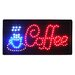 "10"" x 19"" Animated Motion LED Neon Light Coffee Sign"