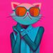 "<strong>""Kool Kitty"" Graphic Art on Canvas</strong> by Salty & Sweet"