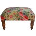 Beige Velvet Floral Print Ottoman Jewel Home Decor