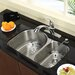 "Stainless Steel Undermount 30"" Double Bowl Kitchen Sink with 11"" Kitchen Faucet and Soap Dispenser"