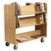 "11"" Solid Oak Book Truck With 4 Sloped & 1 Flat Shelf"