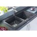"33"" x 20"" Geo Granite ROK Double Bowl Kitchen Sink"