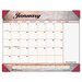 Marbleized Monthly Desk Pad Calendar, 22 x 17, Burgundy, 2013
